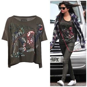 All Saints X Loro Parrot Sequin Beaded Top Olive